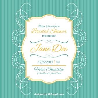Invitation de Bachelorette avec cadre doré et la décoration abstraite