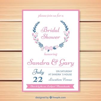 Invitation de Bachelorette avec des fleurs et des détails rose