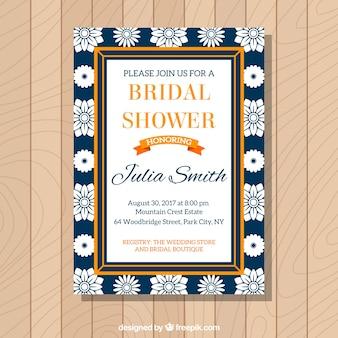 Invitation de Bachelorette de fleurs blanches et cadre orange