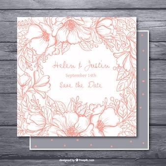 Invitation de bachelorette dessiné à la main avec une végétation rose