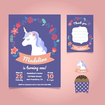 Invitation de fête d'anniversaire de licorne