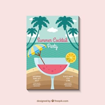 Invitation de fête d'été avec cocktail