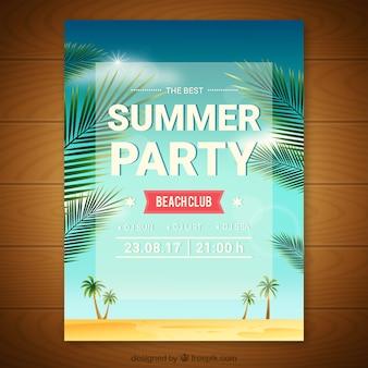 Invitation de fête d'été avec des palmiers