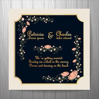 Invitation de mariage avec cadre beige