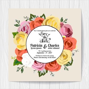Invitation de mariage avec couronne de roses multicolores