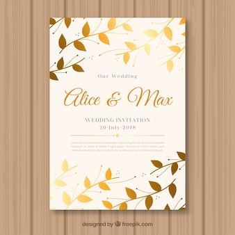 Invitation de mariage avec des feuilles dorées