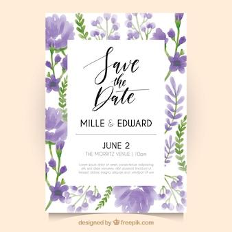 Invitation de mariage avec des fleurs d'aquarelle