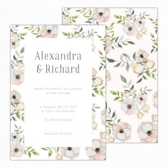 Invitation de mariage avec des fleurs pastel