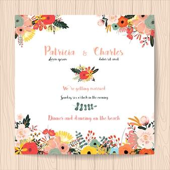 Invitation de mariage avec des fleurs tropicales