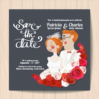 Invitation de mariage avec des personnages et des roses rouges