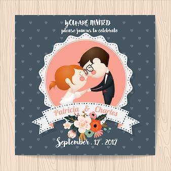 Invitation de mariage avec des personnages romantiques