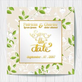 Invitation de mariage avec fond de feuilles