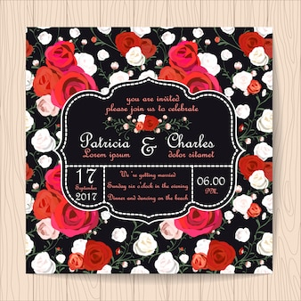 Invitation de mariage avec fond de motif de roses