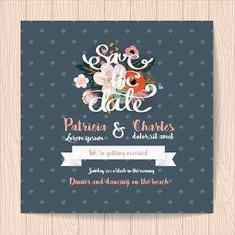 Invitation de mariage avec fond de ruban et de coeurs