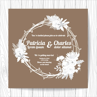 Invitation de mariage avec la conception de couronnes florales