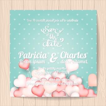 Invitation de mariage avec le design des coeurs