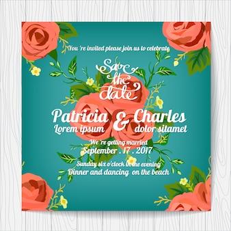 Invitation de mariage avec motif de roses et backgroun bleu