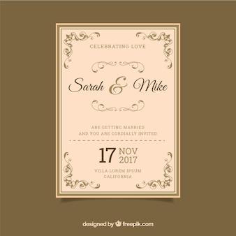 Invitation de mariage avec style rétro