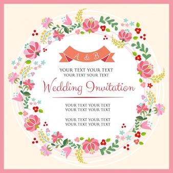 invitation de mariage avec une couronne de fleurs