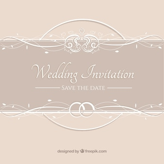 Invitation de mariage beige vintage