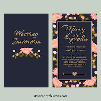 Invitation de mariage bleu foncé avec des fleurs roses
