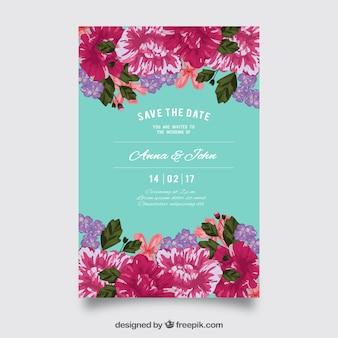 Invitation de mariage coloré avec de belles fleurs