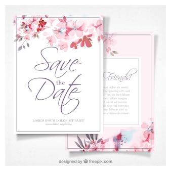 Invitation de mariage d'aquarelle avec des fleurs