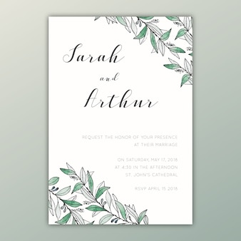 Invitation de mariage d'aquarelle avec des illustrations botaniques