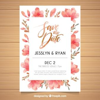 Invitation de mariage d'aquarelle avec style floral