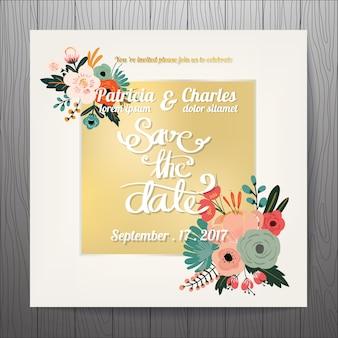 Invitation de mariage d'or avec des fleurs