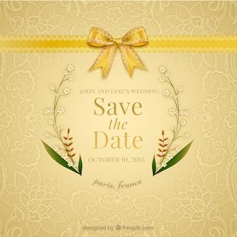 Invitation de mariage d'ornement avec un ruban