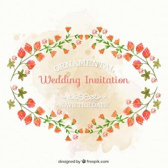 Invitation de mariage d'ornement de fleurs peintes à la main