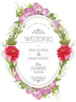 Invitation de mariage de couronnes florales roses et rouges