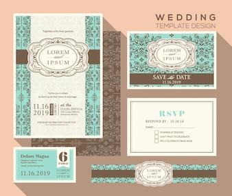 Invitation de mariage de design vintage mis carte de réponse de la carte de lieu Modèle enregistrer la carte de date