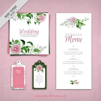 Invitation de mariage de roses peintes à la main et un modèle de menu