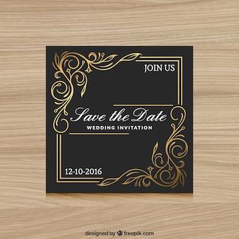 Invitation de mariage élégant noir et or