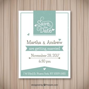 Invitation de mariage élégante avec des coeurs
