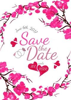 Invitation de mariage floral à l'aquarelle