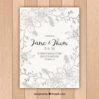 Invitation de mariage floral en style dessiné à la main