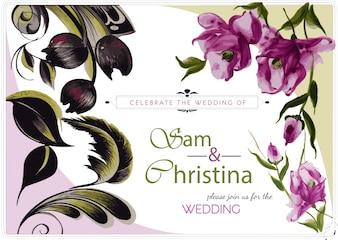Invitation de mariage floral pourpre et vert
