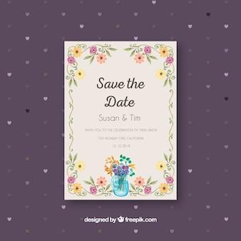 Invitation de mariage plat avec cadre floral