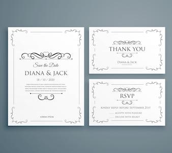 Invitation de mariage propre invitation carte de remerciement économisez la conception de modèle de date