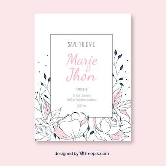 Invitation de Weddin avec des fleurs dessinées à la main