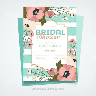 Invitation décorative bachelorette avec des fleurs et rayures blanches