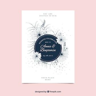 Invitation élégante de mariage floral