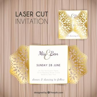 Invitation florale d'or élégante