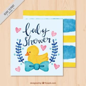 Invitation mignonne de baby shower avec canard et coeurs