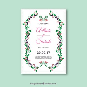 Invitation mignonne de mariage avec style floral
