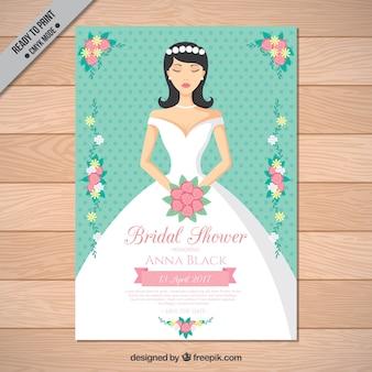 Invitation nuptiale de douche avec une belle mariée