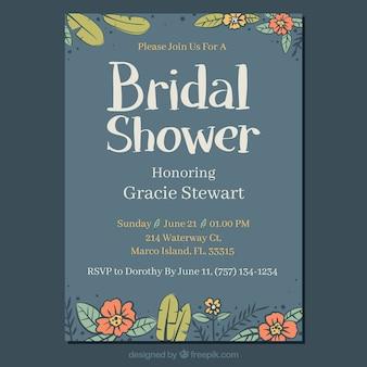 Invitation nuptiale de douche bleu avec des fleurs dessinées à la main